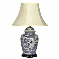 General Jar Lamp in blue and white dragon design